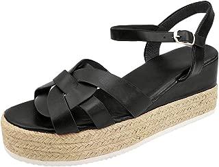 LONGDAY ⭐ Shoes Women's Ankle Strap Flat Espadrilles Summer Platforms Sandals - Criss Cross Casual Shoes Open Toe