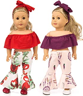 ebuddy 6pc/Set Doll Clothes Accessories Include Off-Shoulder Top Bell-Bottom Trousers and Headband for 18 inch American Girl Doll,Our Generation Doll,15 inch Bitty Baby Doll, 43cm New Botn Baby Doll
