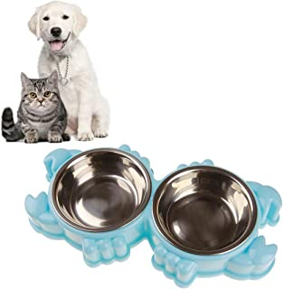 Hometom Dog Bowls, Plastic Stainless Steel Dog Bowl Cat Food Bowl Double Bowl Pet Safety Crab