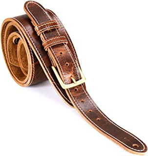 LeatherGraft Roadwork Distressed Traditional with Buckle Brown Genuine Leather 2.7 Inch Wide Padded Guitar Strap - For all Electric, Acoustic, Classical and Bass Guitars