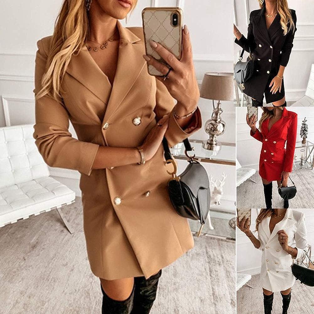 Onsoyours Damen Blazer Kleid Frauen Elegant Langarm V-Ausschnitt Zweireihig Solide Hemdkleid Business Slim Fit Lange Hülse Büro Jacken Knopf Anzug Mantelkleid A Schwarz