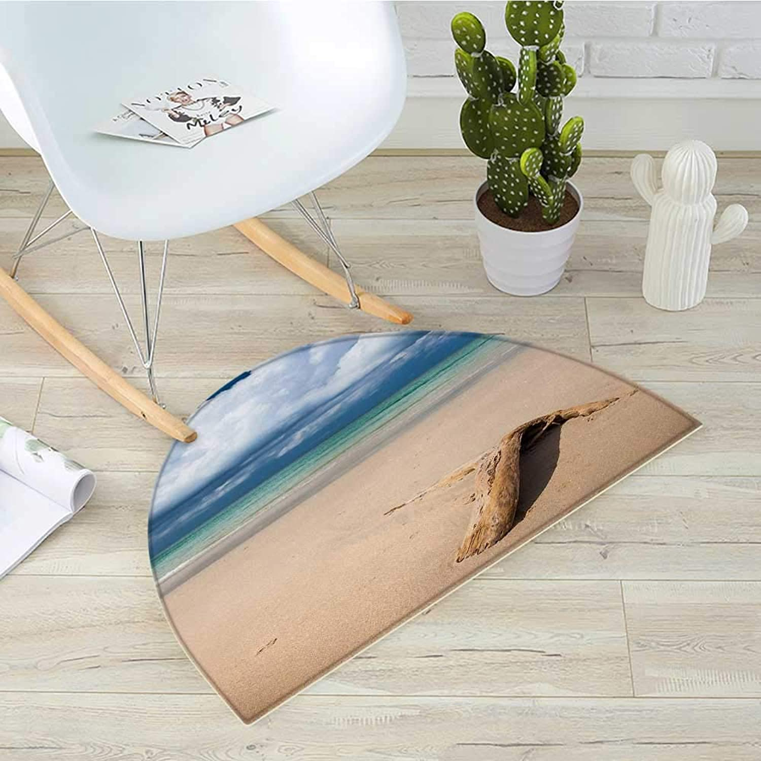 Driftwood Semicircular CushionSea Theme Driftwood on The Sandy Beach and Cloudy Sky Digital Style Print Entry Door Mat H 43.3  xD 64.9  Sand Brown bluee