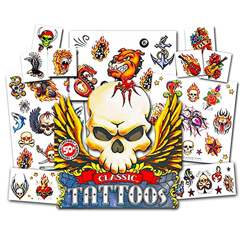 Savvi American Traditional Temporary Tattoos Pack ~ 50 Count Classic Tattoos