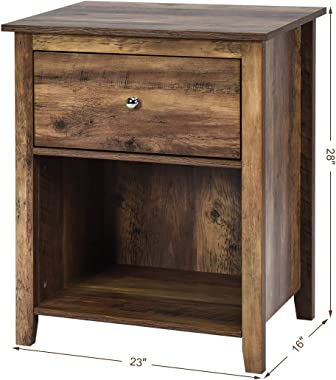 Giantex 2-Tier Nightstand with Sliding Drawer & Open Compartment, Wood Look Bedside Table, Side Table File Cabinet Storage Table for Bedroom End Table, Rustic Brown (1)