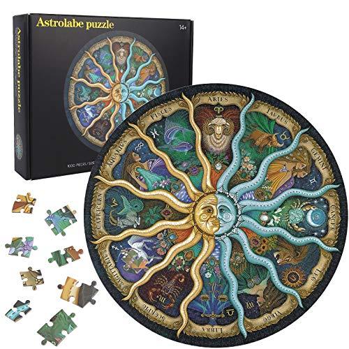 Herefun Puzzle 1000 Teile, Runde Puzzle Kreative, Puzzle Pädagogisches Klassische Puzzle Stressabbau, Runde Puzzle für Kinder, Regenbogen Puzzle Jigsaw Puzzle Geschenk (Constellations)