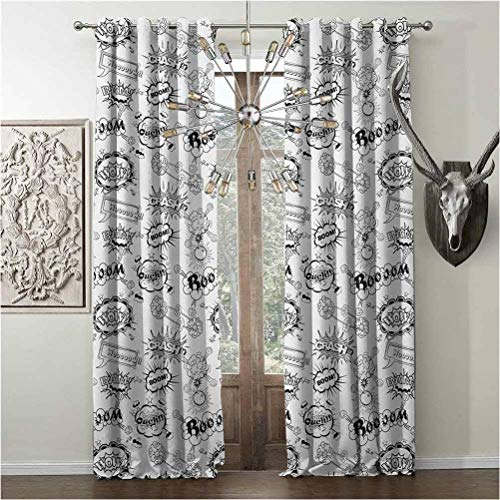 DIY-Printing curtains, Sketch energy efficiency print, Prints Scenery products, W108 x L84 Inch, Black and White, Pattern with Comic Book Doodle Speech Bubbles Sound Effects Cloud Pop Art Humor,