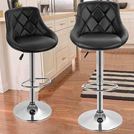 Amazon Com Counter Height Swivel Bar Stools Barstools Bar Height Stool Chair Leather Counter Stools Diamond Stitched Pattern Black By Halter Kitchen Dining