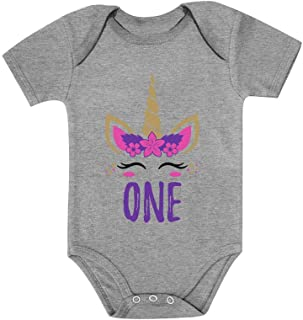 Tstars Gift for 1 Year Old Baby Girl 1st Birthday Gift Unicorn Baby Bodysuit