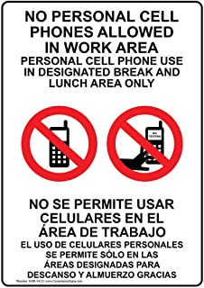 Cell Phone Designated Area Only English + Spanish Sign, 10x7 in. Aluminum for Cell Phones by ComplianceSigns
