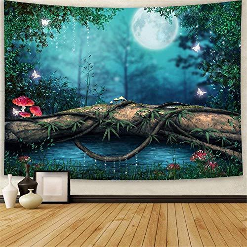 Yhjdcc Waldteppich Hippie Mond Psychedelische Pilze B?ume und Pflanzen M?rchenland Wandteppich ¨¹bergro?es Schlafzimmer Wohnzimmer Wanddekoration Wandteppich 150cm x 200 cm