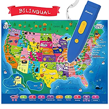 QiaojoyInteractive Kids Map BilingualUnited States Mapfor Kids Learning Educational USA MapsKids Toys with2000 Random GeographyFacts,Customizable Personalized Kids Gift for Ages 3-12