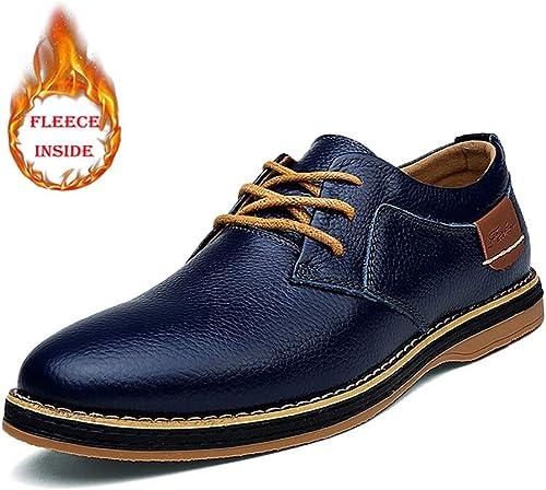 JIALUN-Schuhe Herren Einfache Mode Oxford Casual Low Top Einfarbig Einfache samt Fleece Gefüttert Halb Formale Schuhe (Konventionell Optional) (Farbe   Warm Blau, Größe   44 EU)