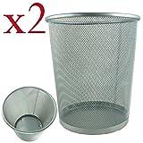 BIDBUY® Circular Mesh Bin - Waste Paper Basket - Silver x 2