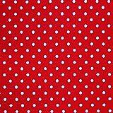 Popeline, rot, 100% Baumwolle, mit weißen Punkten,