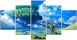 FUZI00 5 Piece Wall Art Canvas Prints Picture of Hayao Miyazaki Sky Castle Canvas Painting Movie Poster and Print Canvas Framed (31.5X59 Inch