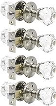 4 Pack Genuine Crystal Privacy Door Knobs for Bed/Bath, Interior Door Handles Satin Nickel Finish with Classic Rosette, Heavy Duty Modern Door Handles&Knob Sets-Diamond Shape