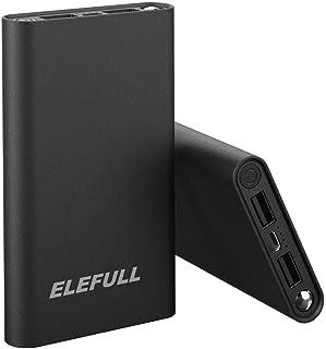 ELEFULL Batería Externa 10000mAh Carga Rápida de Power Bank 2 USB Cargar y Cargador Movil Portátil Compacto con LED Luces para Android Smartphones Tabletas, etc (10000mAh Negro 3)