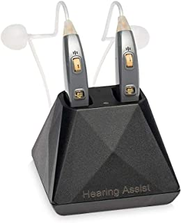 Hearing Assist Recharge | Rechargeable BTE Air Conduction Hearing Aid (Both Ears) | FDA Registered with Charging Case | TV Offer with Free Technical Support | Gray