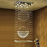 Candelabros Escaleras arañas largas arañas dúplex Piso Villa araña de Cristal giratoria Gran Sala de Estar lámparas de LED Decoración hogareña (Tamaño : 60 * 60cm)