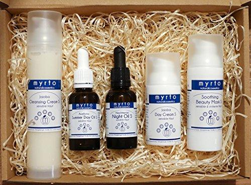 myrto – BIO JOJOBA BEAUTY COLLECTION - veganes Naturkosmetik Gesichtspflege Set für sensible + irritierte Haut - ohne Alkohol - ohne Duftstoffe - ohne Konservierungsstoffe
