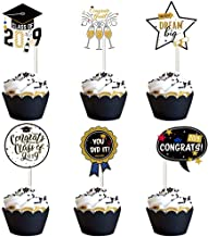 Graduation Cupcake Toppers,Vanten 24 Pcs Cake Toppers For Class of 2019 Graduation Party,Food and Appetizer Decoration,Congrats Grad Cake Picks