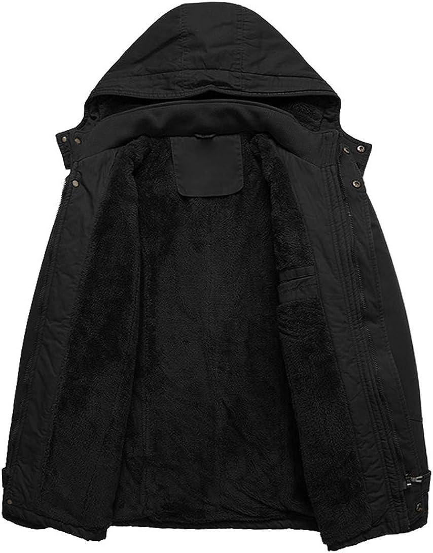 KEFITEVD Winterparka Herren Fleece Gefüttert Warme Winterjacke mit Abnehmbarer Kapuze Winter Mantel Übergangsjacke Militär Jacke mit Stehkragen #72 Schwarz