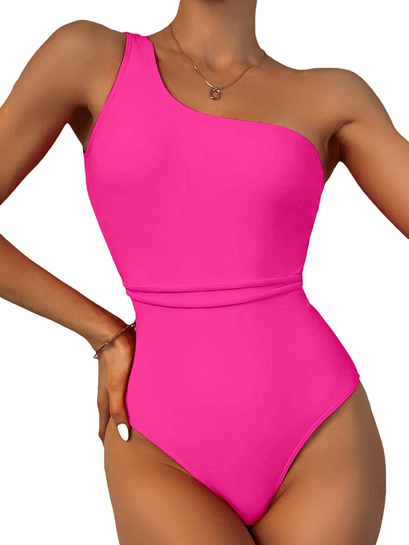 Milumia Women One Shoulder One Piece Swimsuit Wireless Sleeveless Padded Bathing Suit
