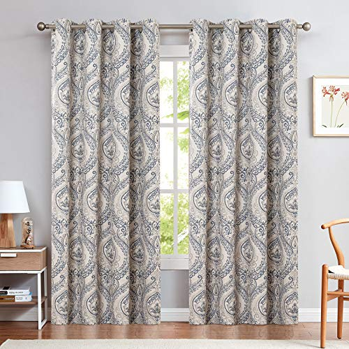 Medallion Linen Textured Curtains for Living Room 84 Inch Length Drapes Damask Pattern Flax Draperies Window Treatments Room Darkening Sliding Glass Doors for Bedroom Curtain Panels 2 Panels Blue