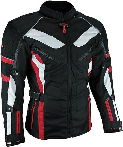 Heyberry Touren Motorrad Jacke Motorradjacke Textil Schwarz Rot Gr L Auto