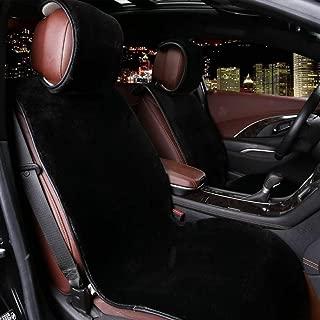 WWSHM Car Front Seat Plush Covers Faux Fur Car Seat Cover New Universal Plush Car Pad Seat Cover Interior Accessories (Color Name : 2 Pieces Black)