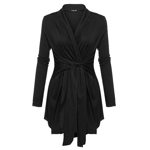 15a9c682336 ACEVOG Women s Long Sleeve Open Front Lightweight Drape Soft Wrap Travel  Sweater Cardigan