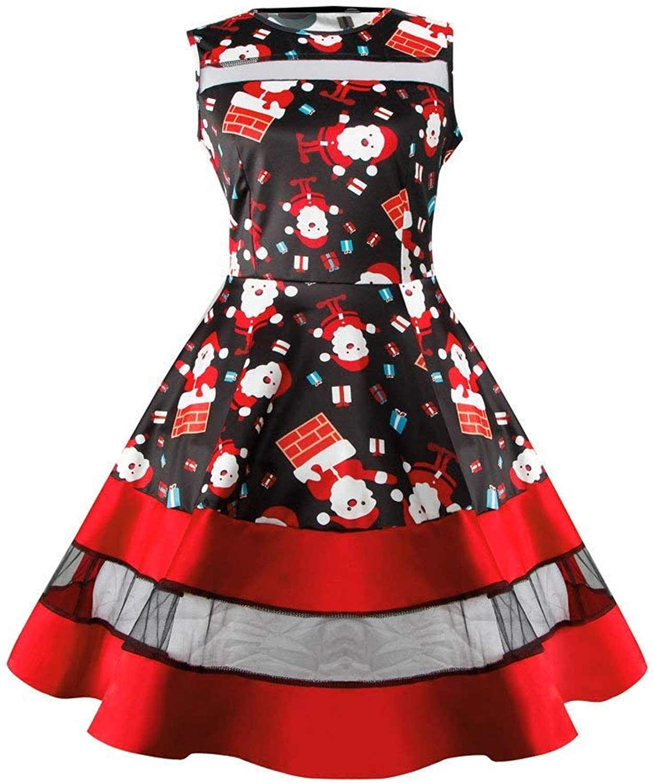 Womens Santa Snowman Christmas Dress Sleeveless Xmas Swing Retro Dresses