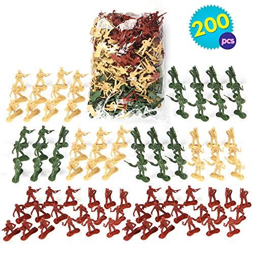 THE TWIDDLERS 200 Mini Soldados de Juguete de plástico en 6 Diseños