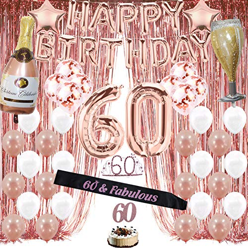 Rose Gold 60th Birthday Decorations for Women, 60 Birthday Party Supplies include Foil Fringe Curtains, Happy Birthday Balloons,Birthday Tiara & sash, Cake Topper