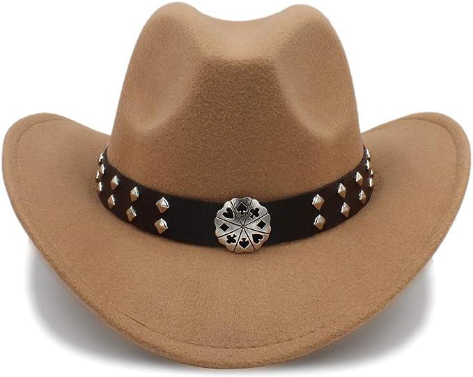 Farbe : Rot, Gr/ö/ße : 56-58cm SSLA 2018 Western Cowboy H/üte Nachahmung Wolle Material Herren Damen Visier Hut Reise Leistung Punk Cowgirl Cap