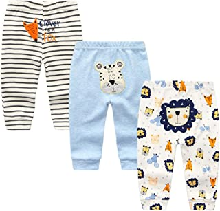 Unisex Newborn Baby Cotton 4-Pack Pants Embroidery Pringting Casual Leggings 0-24 Months for Boys...
