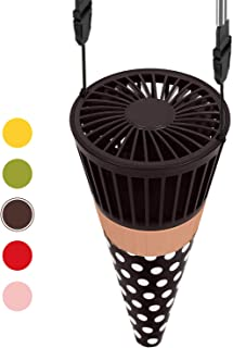 QcoQce Personal Necklace Fan, USB Mini Portable Handheld Fan Rechargeable Small Electric Fan, 3 Speeds Cooling Ice-Cream Cone Fan for kids baby Room Office Camping Travel Outdoor (Chocolate)