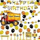 Construcción Decoraciones Cumpleaños para Niños - Obra Pancarta de feliz cumpleaños, Globos Grandes Camiones , Estrella Guirnalda, Señal de tráfico Adornos para Tartas, Detalles Fiesta de Infantiles