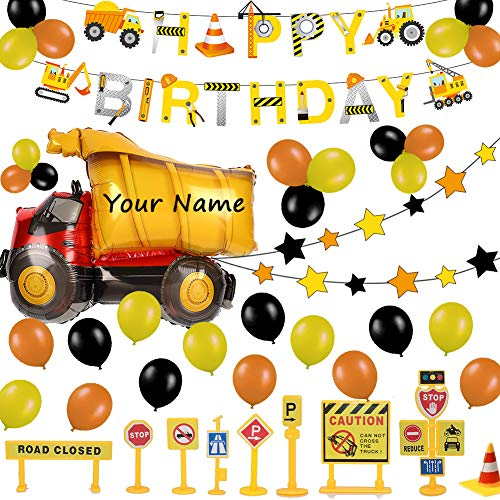 52 Pack Construction Birthday Party Supplies Kit - Happy Birthday Banner, Giant Dump Truck Balloon, Star Garland, Road Sign Model for Cake Decoration | Birthday Decor Set for 1st 2nd 3rd 4-12 year Boy