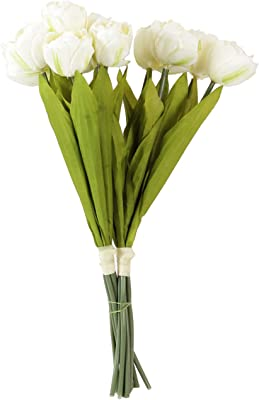 Fourwalls Beautiful Decorative Artificial Tulip Flower Bunch for Home Decor (42 cm Tall, 6 Heads, White)