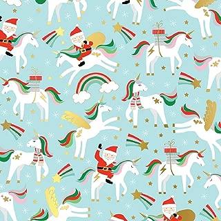 Unicorns Rainbows & Santa Holiday Gift Wrapping Paper Flat Sheet - 24
