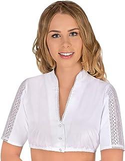 Lieblingsgwand Dirndlbluse weiß Stretch Sara 006152, hochgeschlossene Bluse mit kleinem Stehkragen, halblange, gerade geschnittene Ärmel mit Einsätzen aus feiner Häkelspitze
