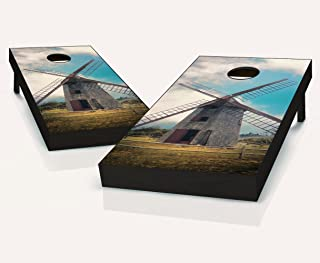 Tailgating Pros Nantucket Island Windmill Cornhole Boards with Set of 8 Cornhole Bags