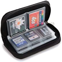 Potelin Memory Card Case Protective SD Bag Secure Digital Card Storage Carrying Pouch Holder Wallet Case Zippered Bag for Photography and Trail Camera Card Reader with 22 slots(Black)