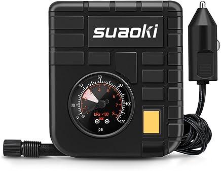 """Suaoki - Mini Compresor de aire portátil, bomba inflador con luz LED (12V, 120 PSI, 3 adaptadores boquilla, 4"""" aire manguera, 3m cable con mechero, para neumáticos, objetos inflables)"""