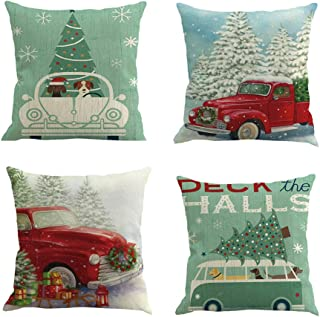 Gooldu Merry Christmas Pillow Covers 18x18 Set of 4, Red Truck with Christmas Tree Green,Dog on Car Cushion Case Christmas Decorations for The Home Couch Pillowcase with Zipper