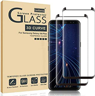LasGame Glass Screen Protector for Samsung Galaxy S8 Plus,[2 Pack] 3D Curved Tempered Glass, Dot Matrix with Easy Installation Tray, Case Friendly