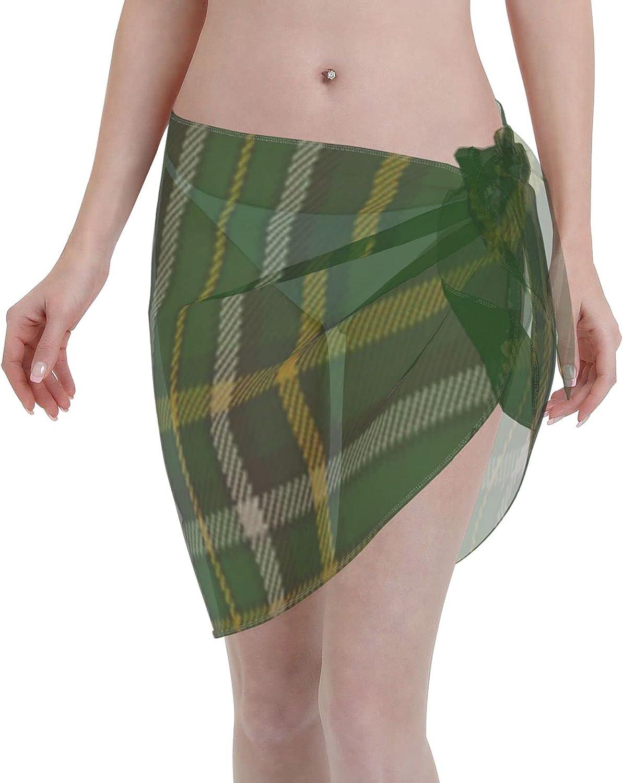 Irish National Fashion Tartan Women Chiffon Beach Cover ups Beach Swimsuit Wrap Skirt wrap Bathing Suits for Women