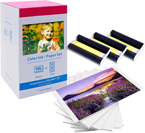 MarkField Papier photo Selphy KP-108IN 3115B001(AA) Color Ink Paper Set Compatible avec Imprimante Canon Selphy CP Se...