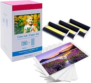 MarkField Compatible with KP-108IN 3115B001 (AA) con impresoras Canon Selphy CP1200 CP910 CP1300 CP1000 CP910 108 Hojas de Papel fotográfic (100 x 148mm) y 3 cartuchos de tinta